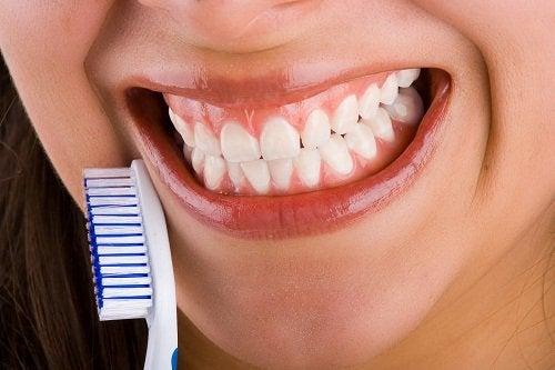 valkoiset hampaat ja hammasharja
