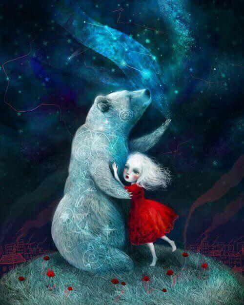 tyttö ja karhu