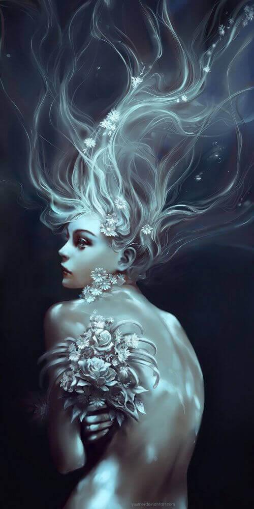 kukat naisen hiuksissa