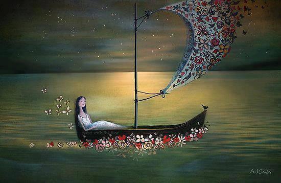 Nainen purjehtii
