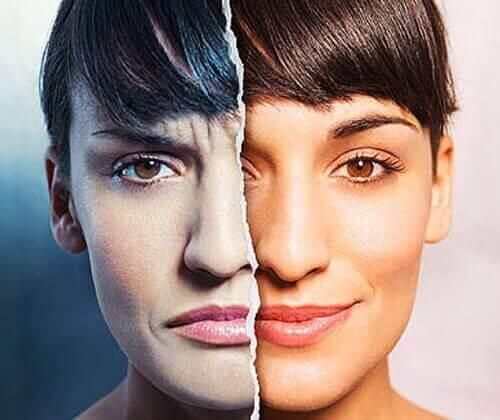 stresaantunut vs. rentoutunut nainen