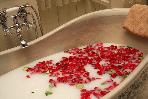 Maitokylpy ruusun terälehdillä