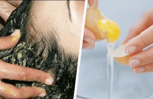 Kananmunanaamiolla puhtaat hiukset