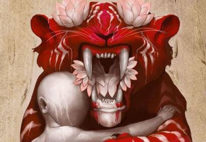 Tunne-elämän vampyyrit poika halaa tiikeriä