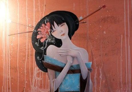 onnellinen japanilainen nainen