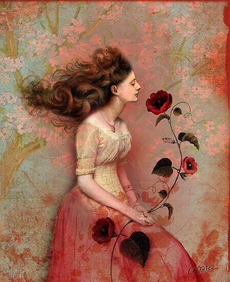 Nainen ja ruusu