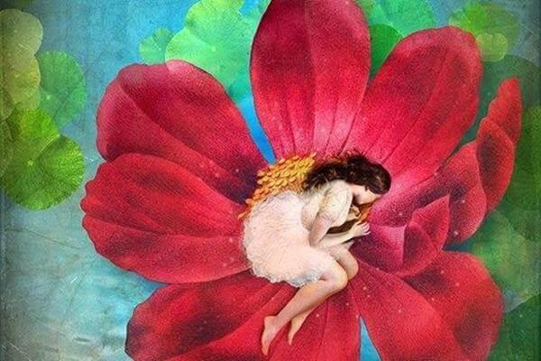 Tyttö nukkuu kukassa