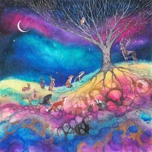 eläimet kerääntyneet puun ympärille