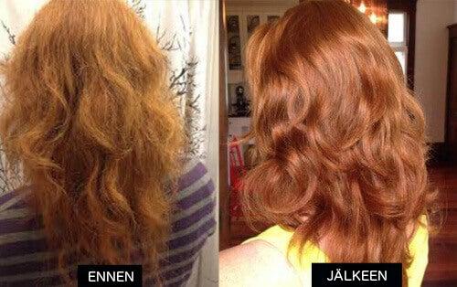 Hiukset ennen ja jälkeen omenaviinietikan