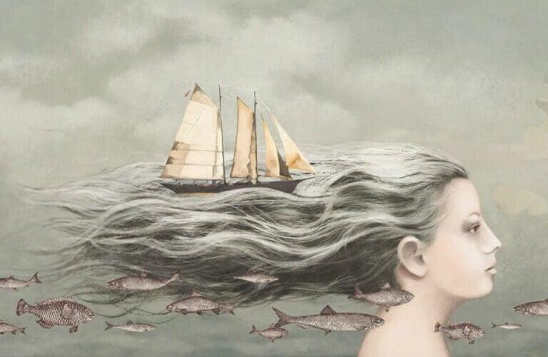 Nainen vene hiuksissaan
