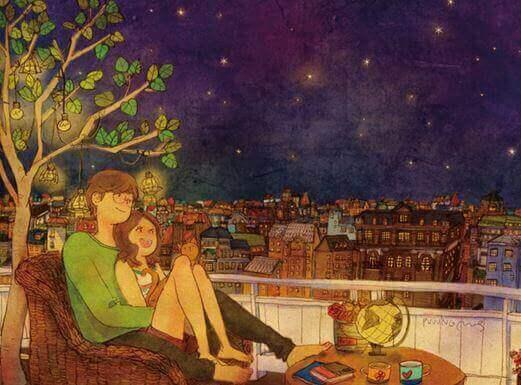 Pariskunta katselee tähtiä