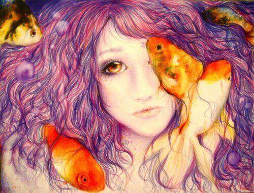 Tyttö ja kalat