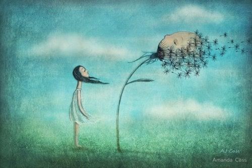 Tyttö puhaltaa kukan riippuvaisuus suhteessa