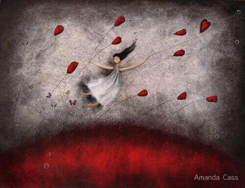 Nainen lentää kukkien kanssa