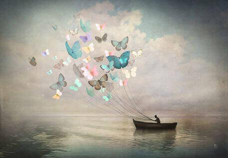 Mies veneessä ja perhoset