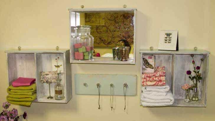 puulaatikot uusiokäytössä;; hylly ja peili