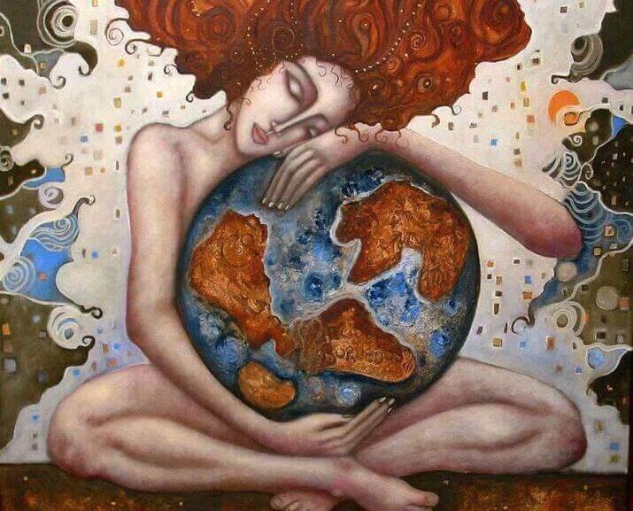 nainen ja maapallo