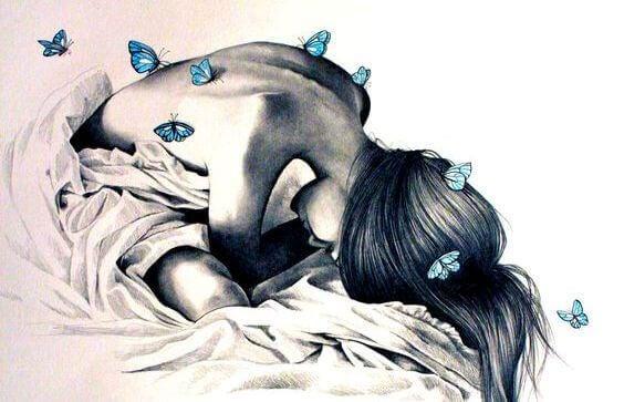 psykosomaattinen nainen ja perhosia