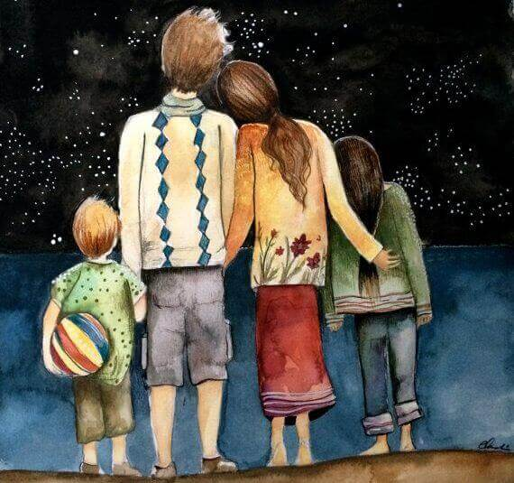 perhe katselee tähtiä