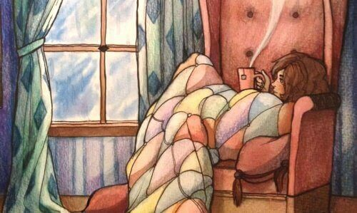 Tyttö juo teetä yksin