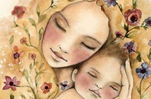 Äiti ja lapsi nukkuvat