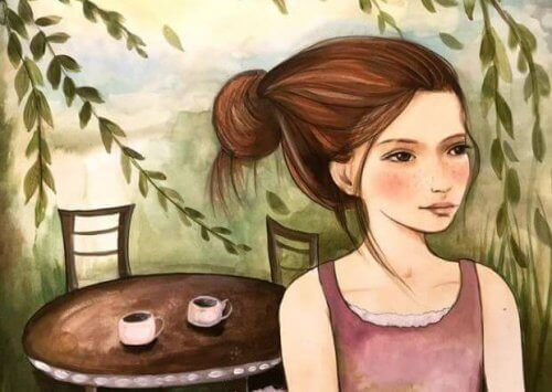 tyttö ja kahvikupit
