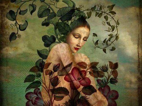 nainen kukkien keskellä
