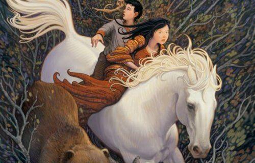 pari pakenee valkealla hevosella