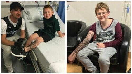 Mies tekee väliaikaisia tatuointeja sairaille lapsille