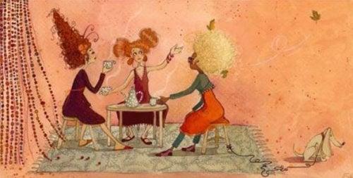 Ystävät kahvittelemassa