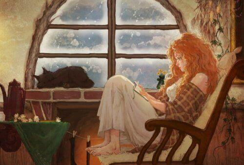 Nainen lukee