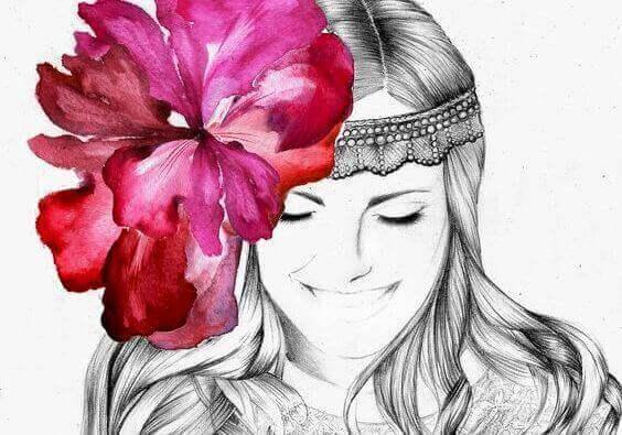 Kukka naisen hiuksissa