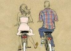 Hyvä ystävä ajaa pyörällä