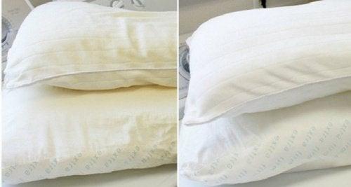 Kellastunut tyyny