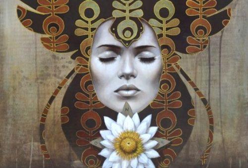 nainen ja kukka vapaa sielu