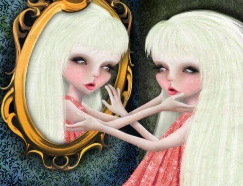 tyttö katsoo itseään peilistä ja koskettaa peilikuvaansa