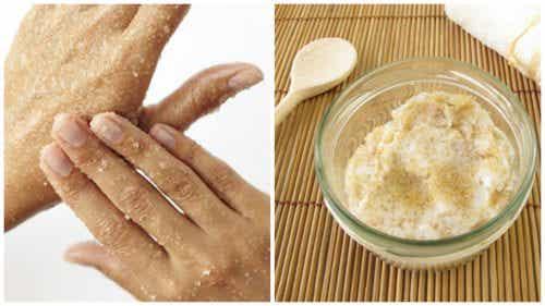 Luonnollinen sokerikuorinta käsien pehmentämiseksi