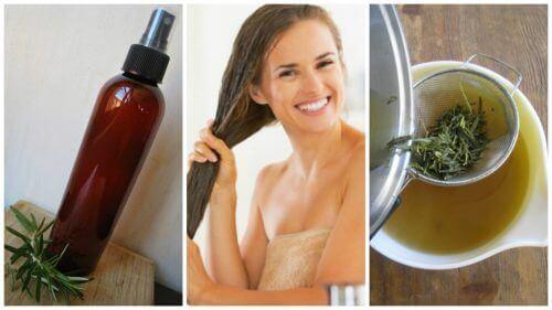 hoida hiuksia luonnollisella yrttihoitoaineella