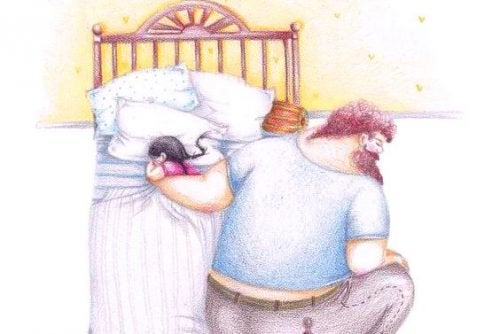 isä nukuttaa lasta