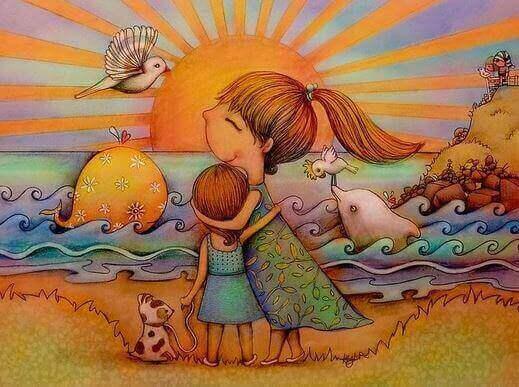 äiti ja tyttö rannalla