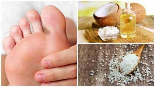 Jalkahoito kookosöljyllä ja suolalla poistaa kovettumat