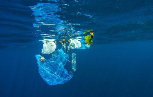 muovi lilluu vedessä