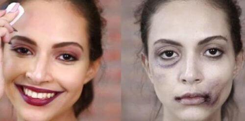 pahoinpidelty nainen ilman meikkiä ja meikattuna