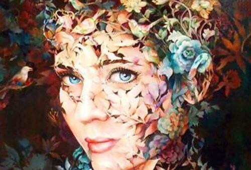nainen ja kukkia