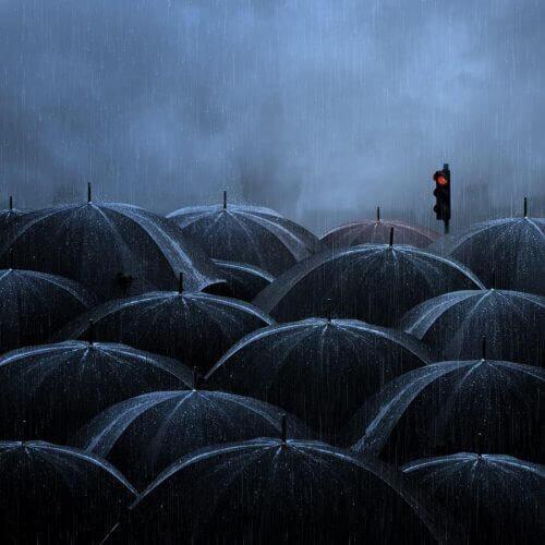 sateenvarjot ja punainen liikennevalo