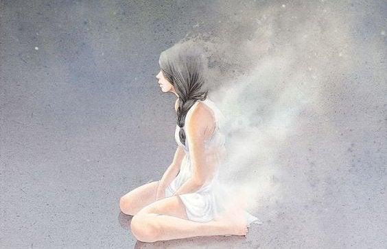 tyttö haihtuu savuna ilmaan
