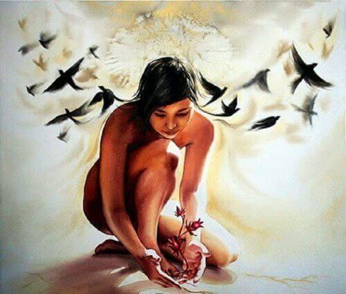nainen pitää huolta kasvista vanha sielu