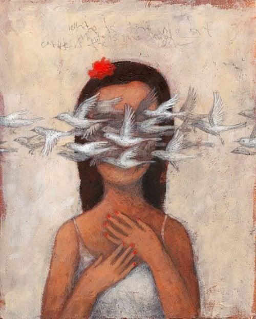 Ofra Amit linnut lentävät tytön edestä