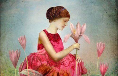 naisella iso kukka