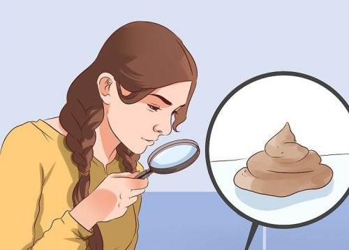 nainen tutkii suurennuslasilla ulostettaan